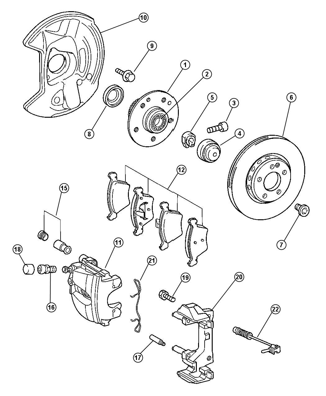 Chrysler Crossfire Caliper. Left. Disc brake. Egx