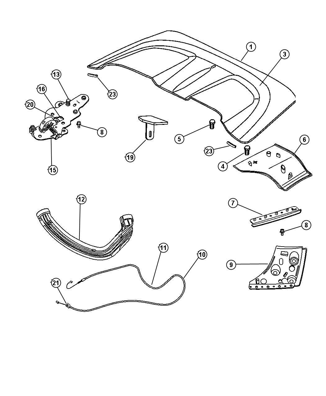 Chrysler Crossfire Cable. Tonneau side flap. Flaps