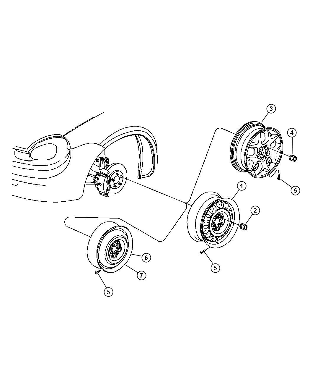 Dodge Neon Wheel Aluminum Wheels