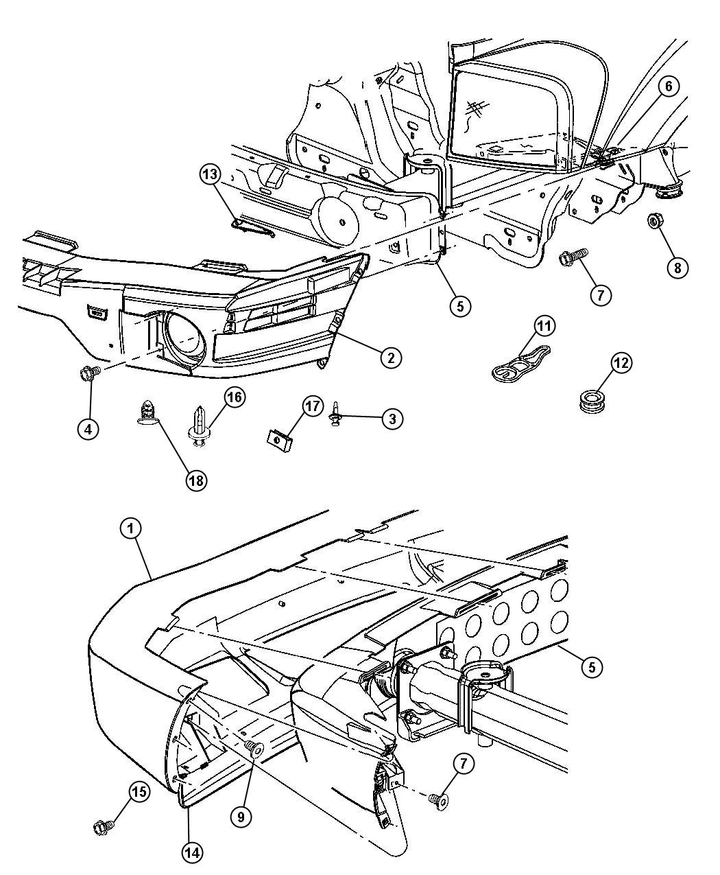 Dodge Durango Front Bumper Parts Diagram