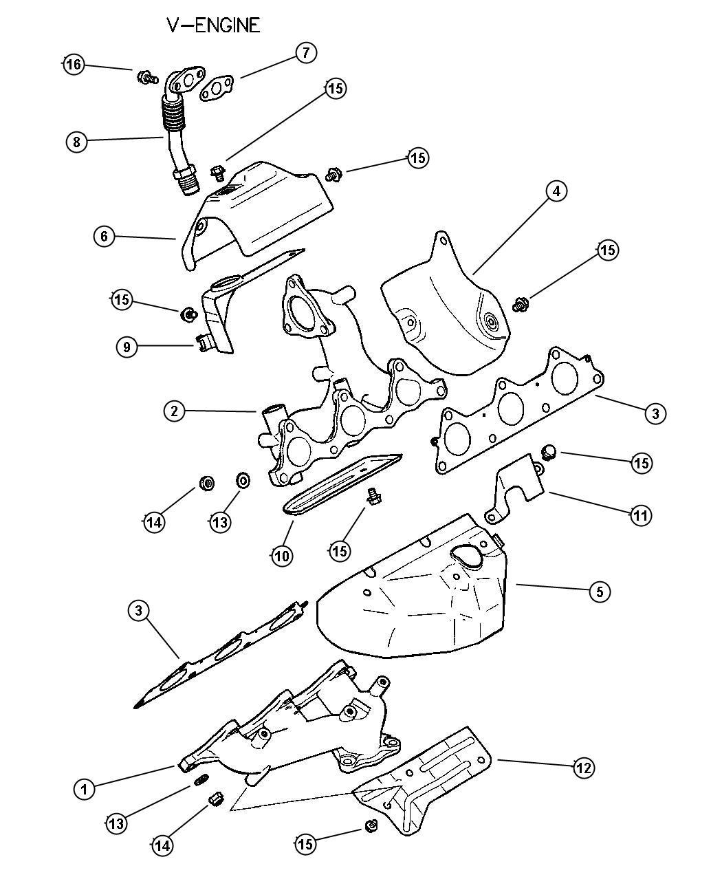 Chrysler Sebring Gasket. Egr tube flange. Manif, exh