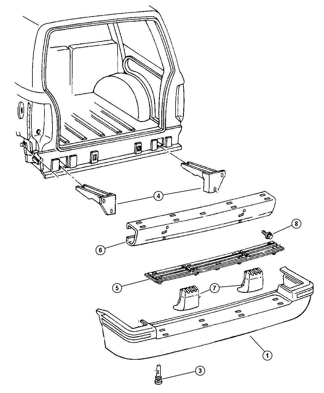 1997 Jeep Grand Cherokee Plate. Scuff. Rear bumper step