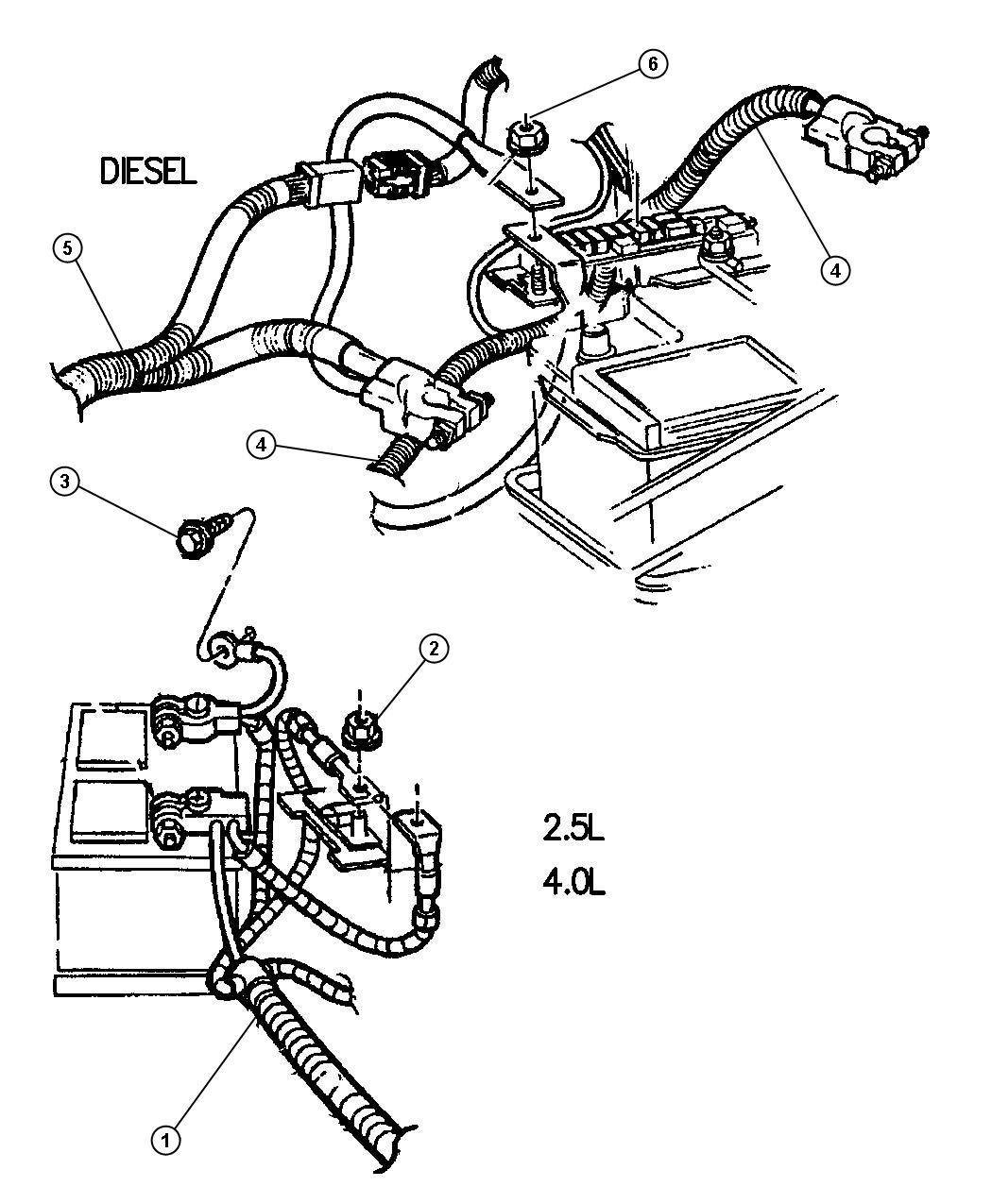 1997 Jeep Cherokee Battery Cables.