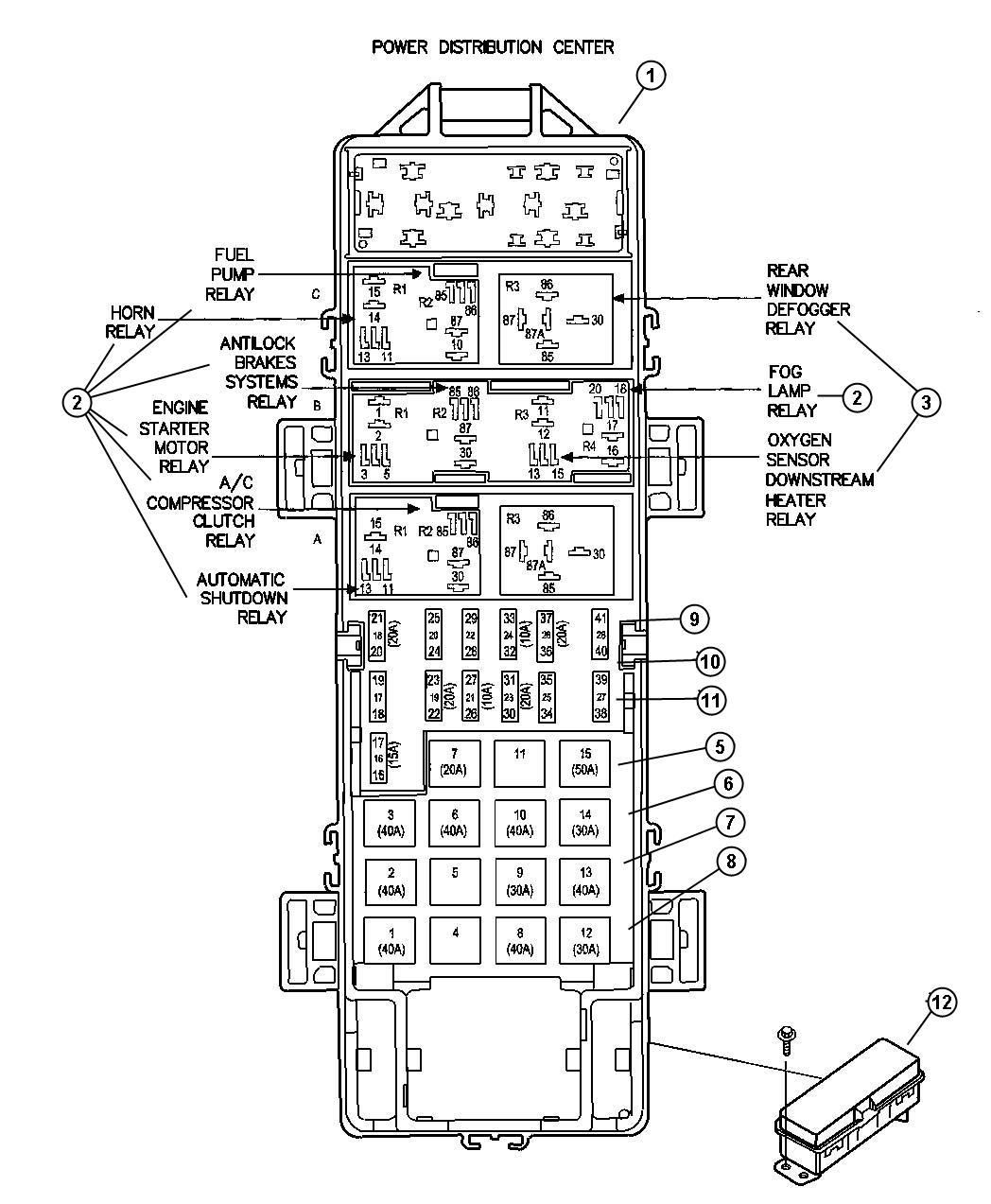 Fuse Box And Relay Diagram For Cherokee Sport Jeepforum