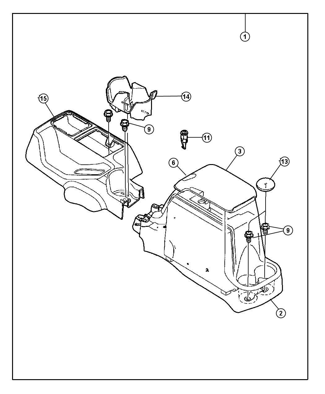 Jeep Wrangler Lid. Center console storage. [dv], gray