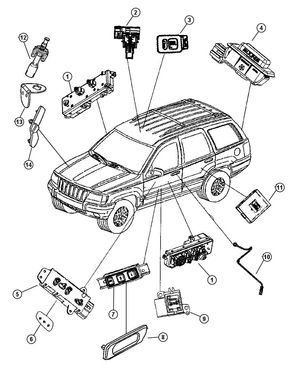 Jeep Grand Cherokee Switch. Door module. Drivers side