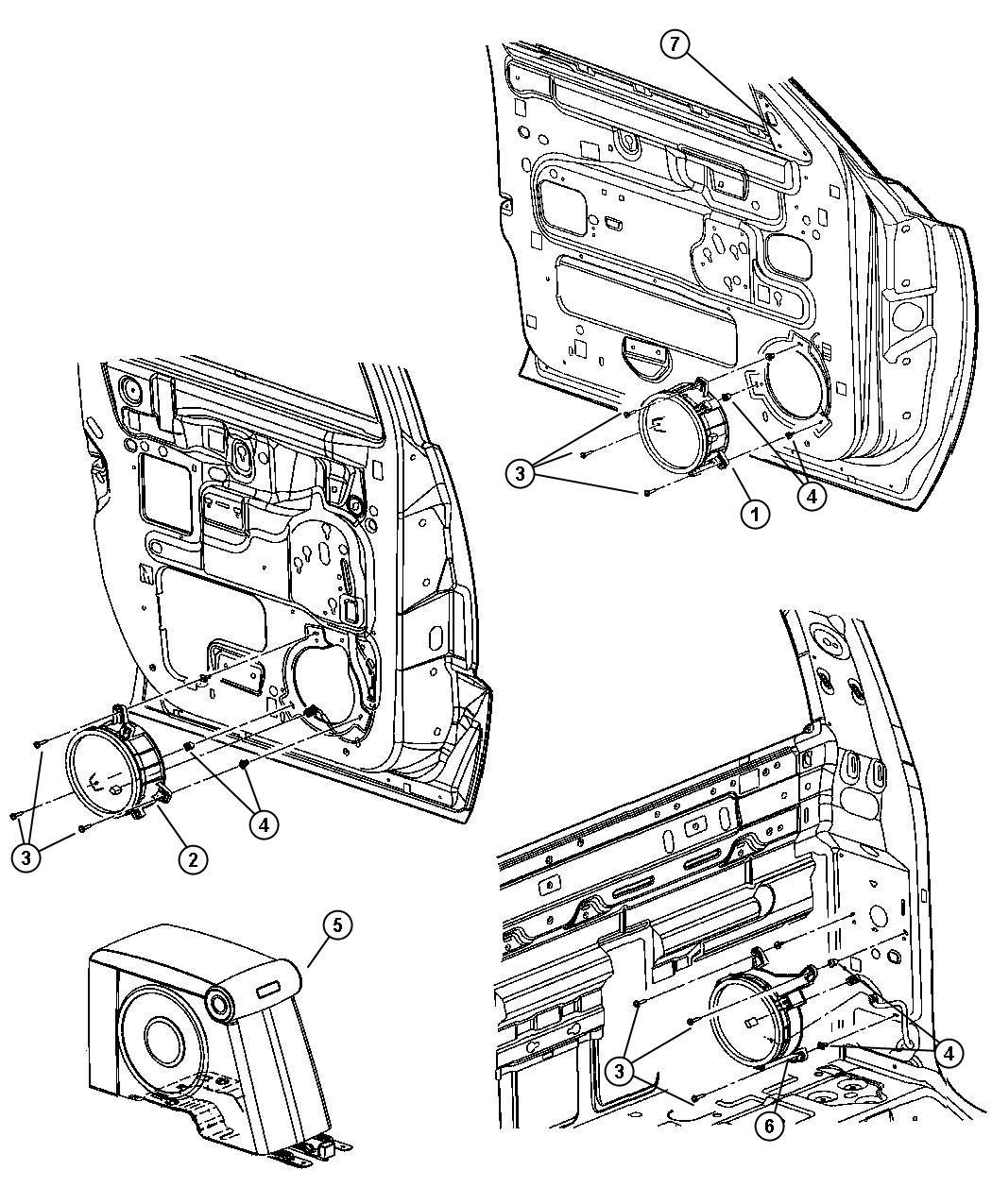 Dodge Ram 2500 Screw. 190-16x1.00. Mounting, side, speaker