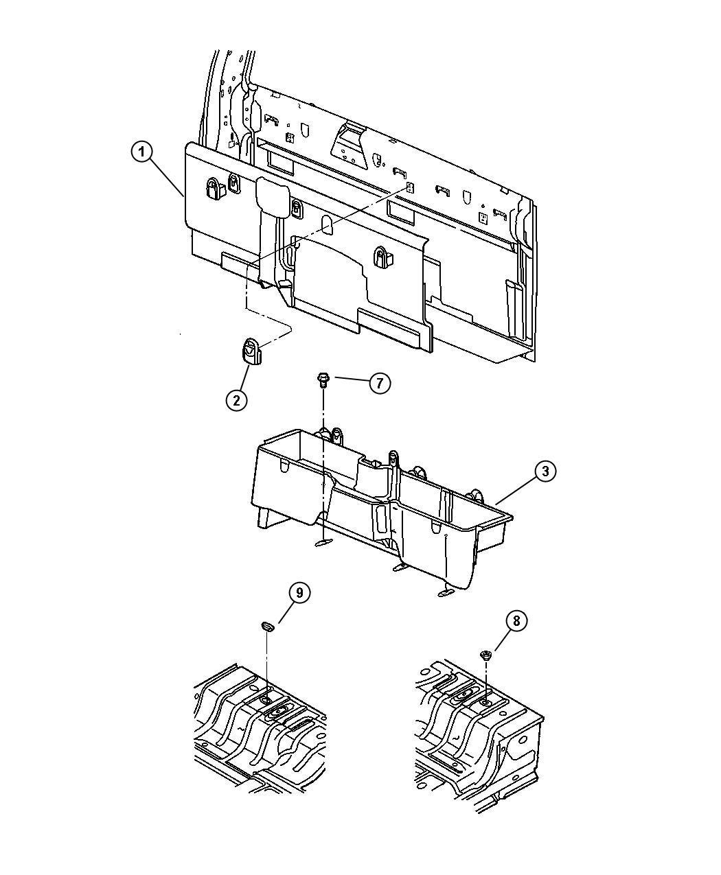 Dodge Ram 1500 Latch. Storage bin lid. [9 alpine speakers