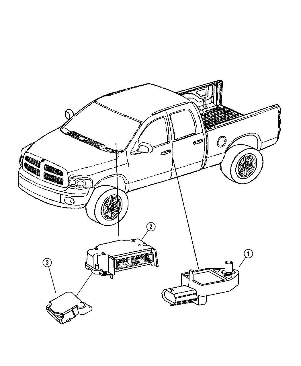 Dodge Ram 1500 Sensor. Impact, side airbag impact