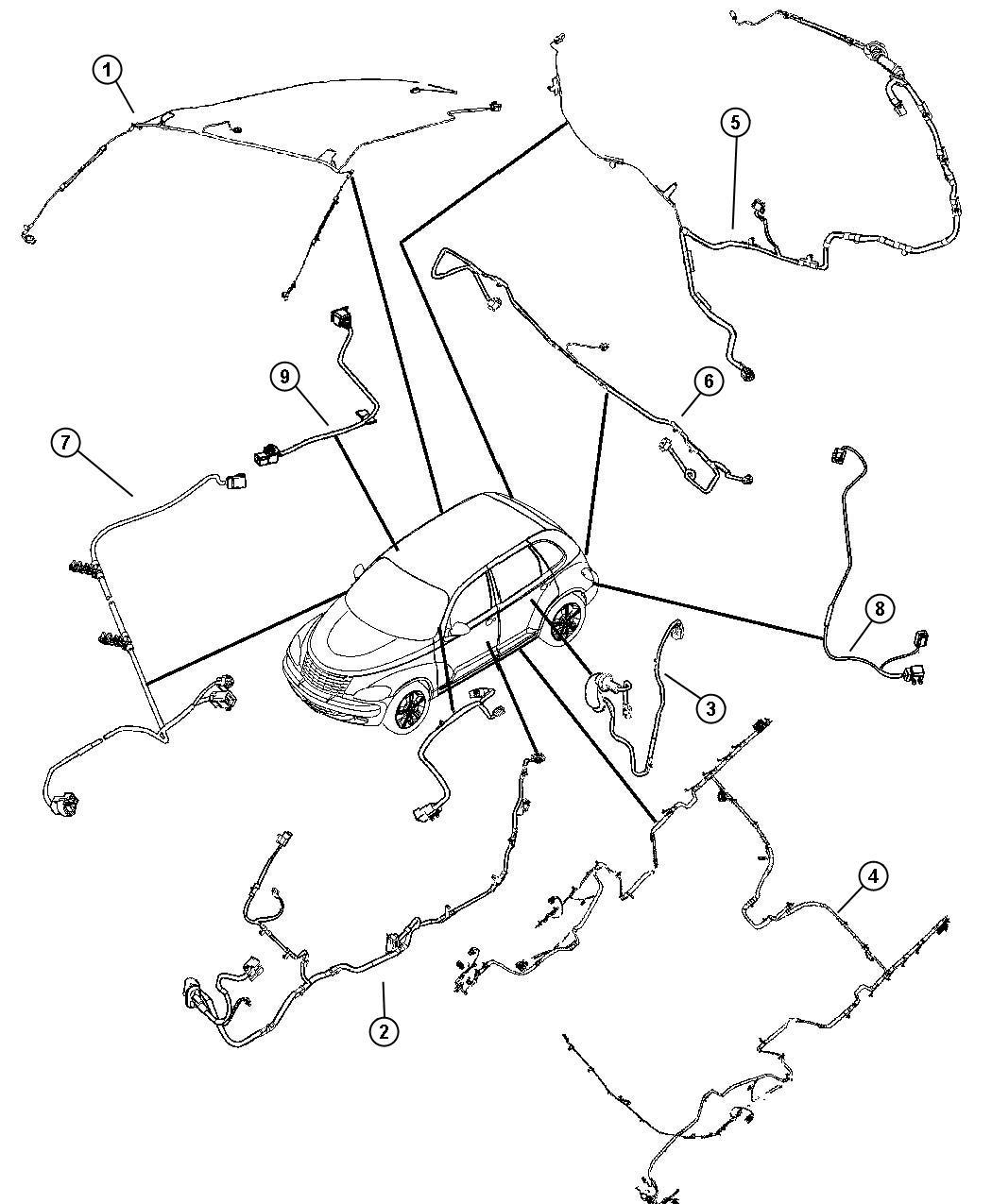 2007 Chrysler Pt Cruiser Wiring. Headliner. Trim: [all
