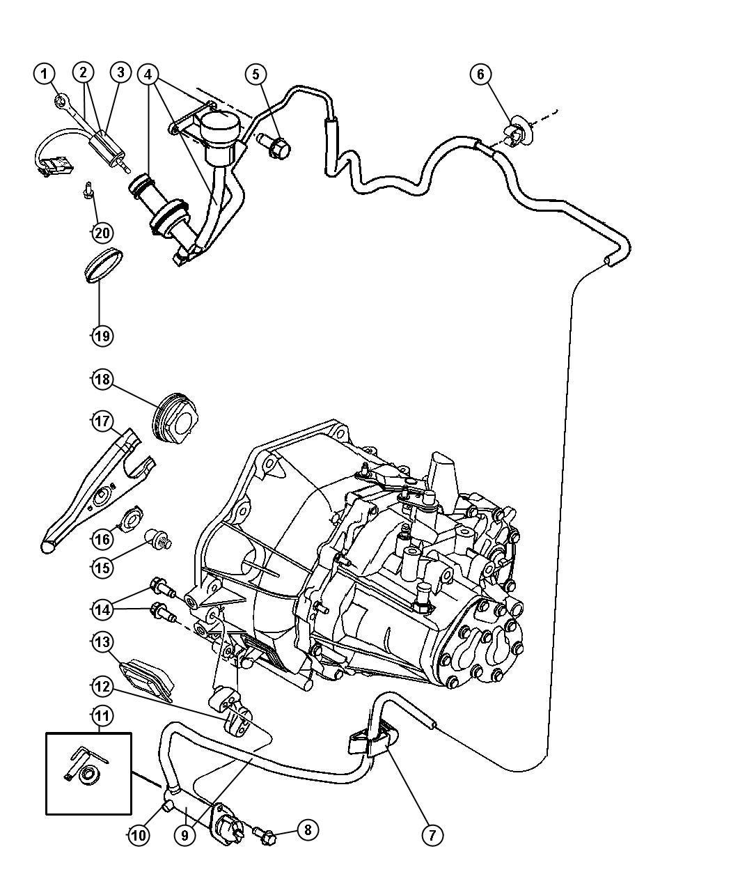 Dodge Neon Actuator. Hydraulic clutch. Clutch master