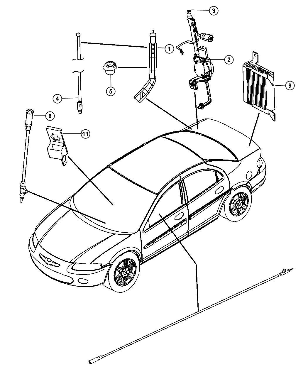 Chrysler Sebring Antenna. [[fixed long mast antenna, rear