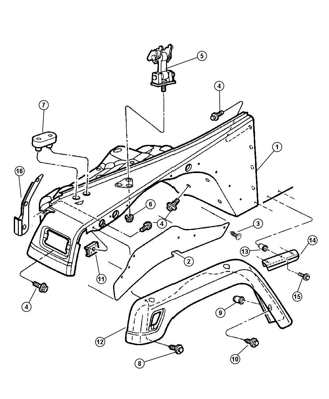 1999 Jeep Wrangler Extension. Fender. Right. [black