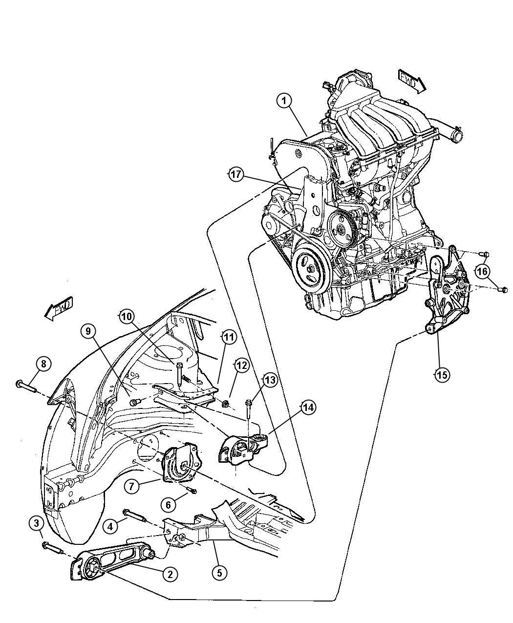 Chrysler Pt Cruiser Isolator, strut. Torque reaction