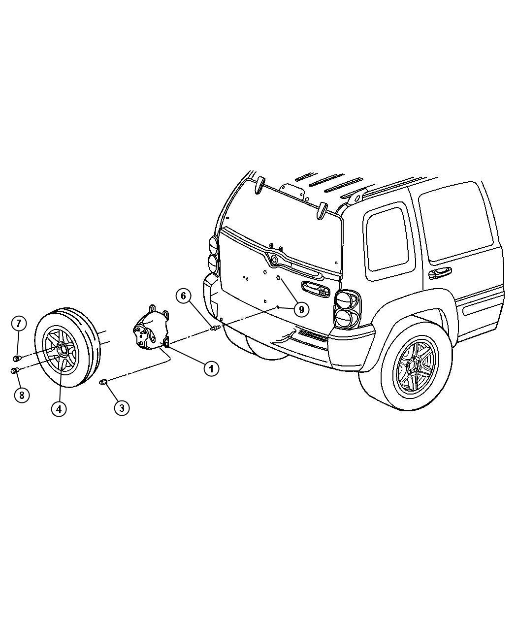 2006 Jeep Liberty Stud. [tbr], spare tire carrier
