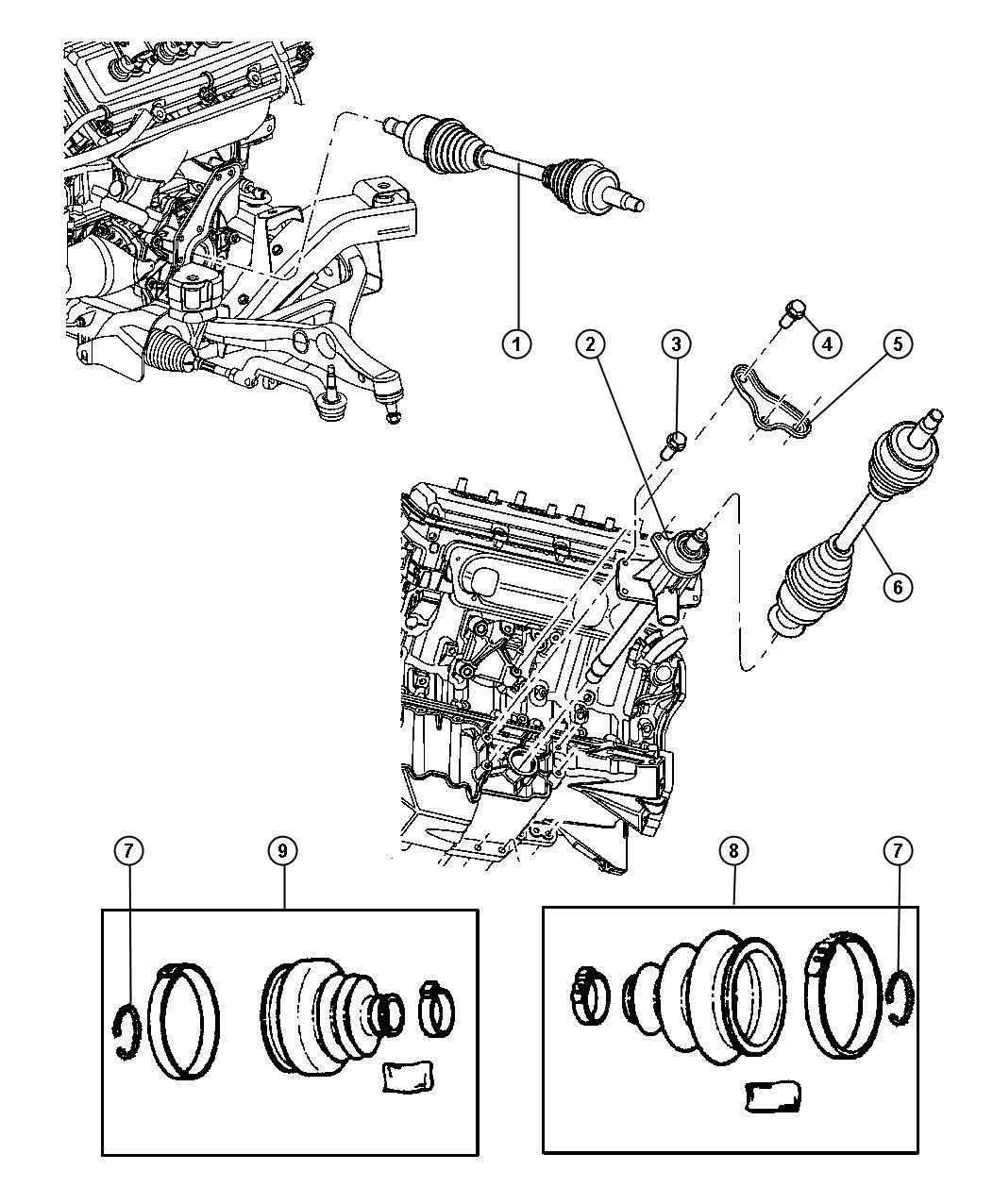 2005 Dodge Magnum Shaft. Left. Intermediate. [egg], [ezb