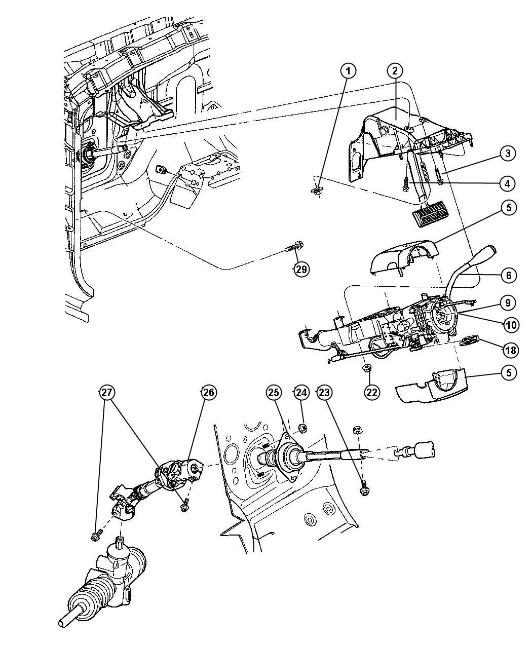 Dodge Dakota Bracket Steering Column Used For Clutch