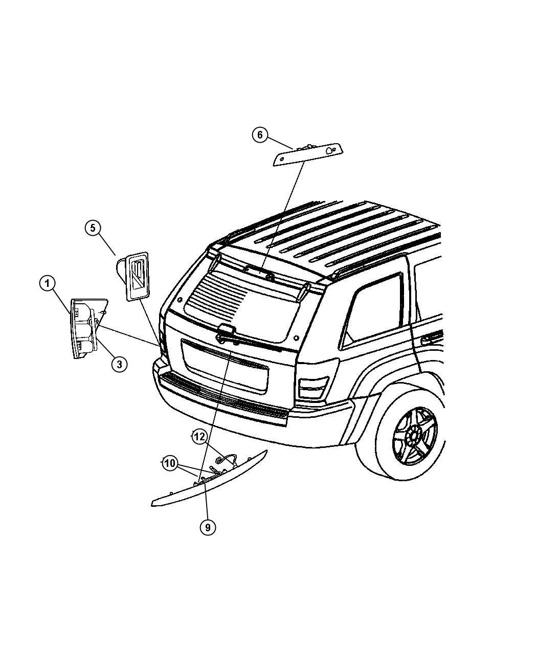 Jeep Grand Cherokee Lamp. Left. Tail stop turn sidemarker