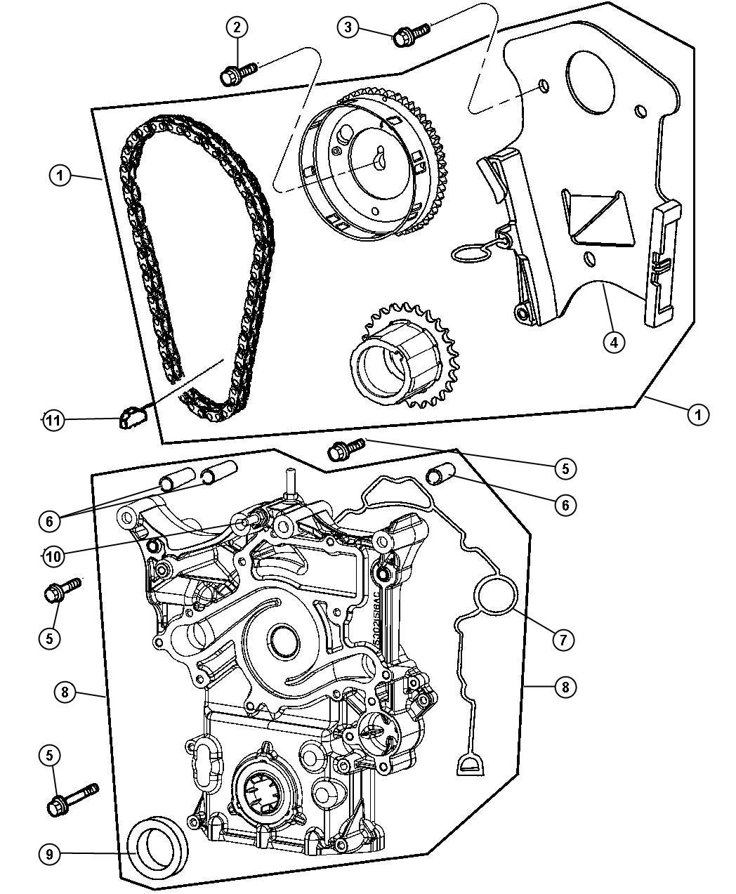 Jeep Commander Timing Chain And Related Parts 5 7l 5 7l Hemi Multi Displacement Engine