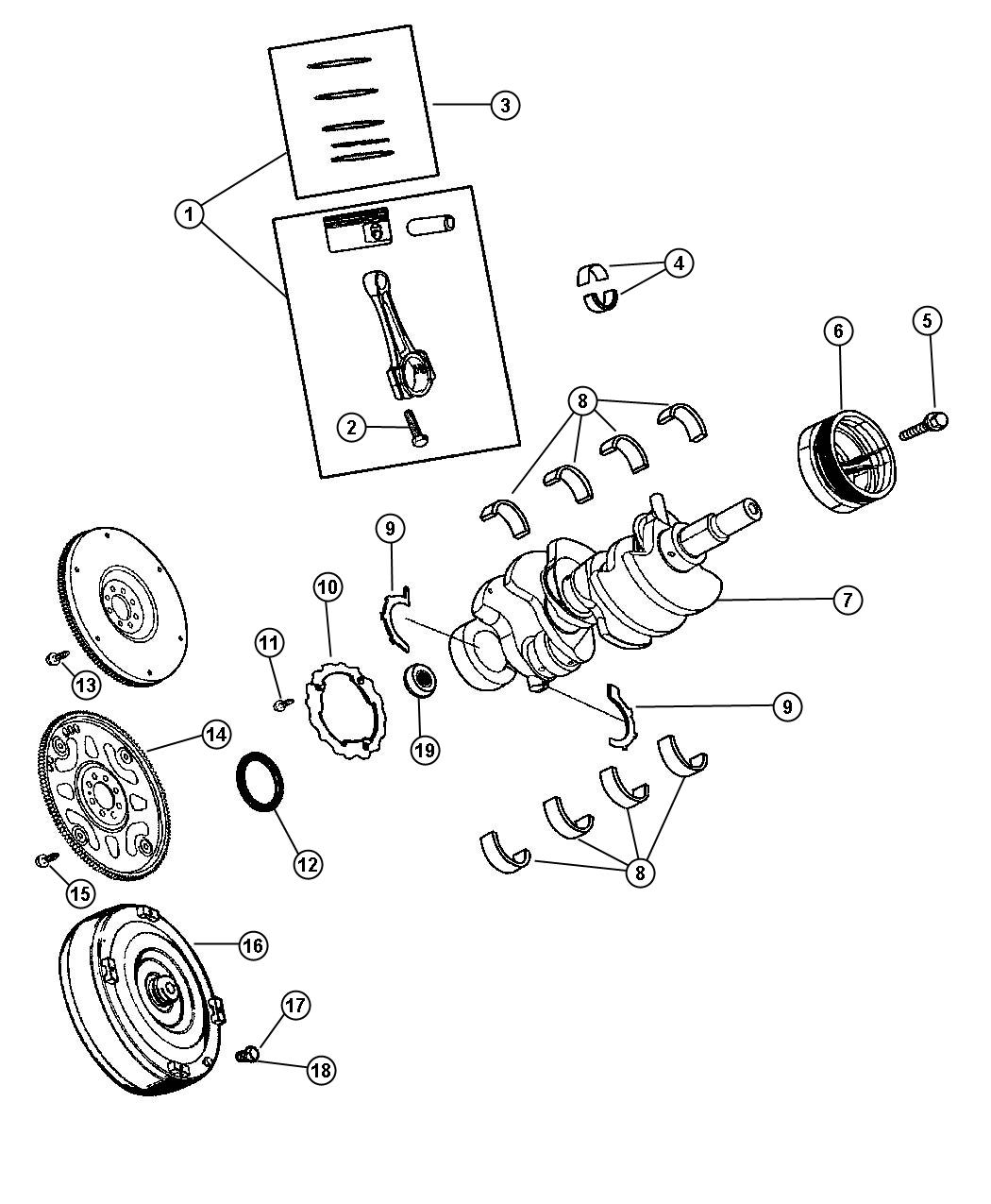 Dodge Nitro Ring kit, ring package. Piston. Standard
