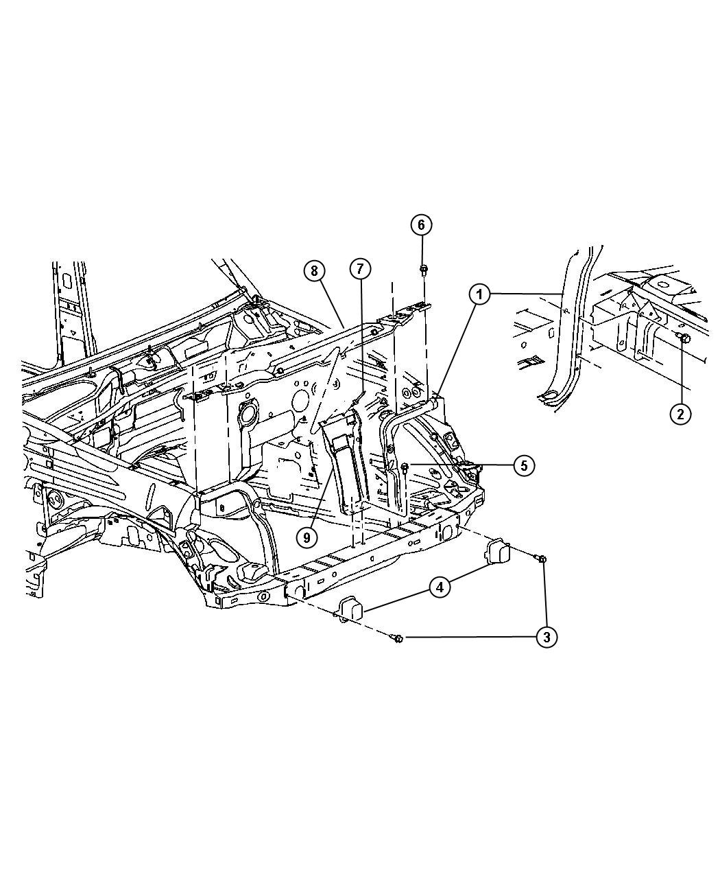 2006 Jeep Liberty Reinforcement. Hood latch. H and p