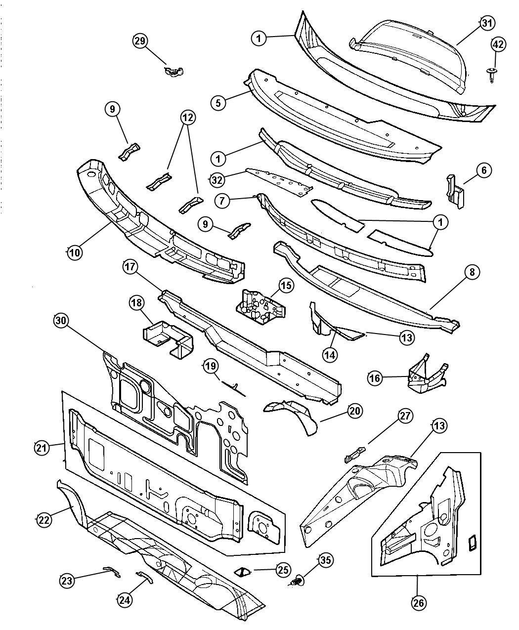 Chrysler Pt Cruiser Grommet. Glass, rear wiper motor