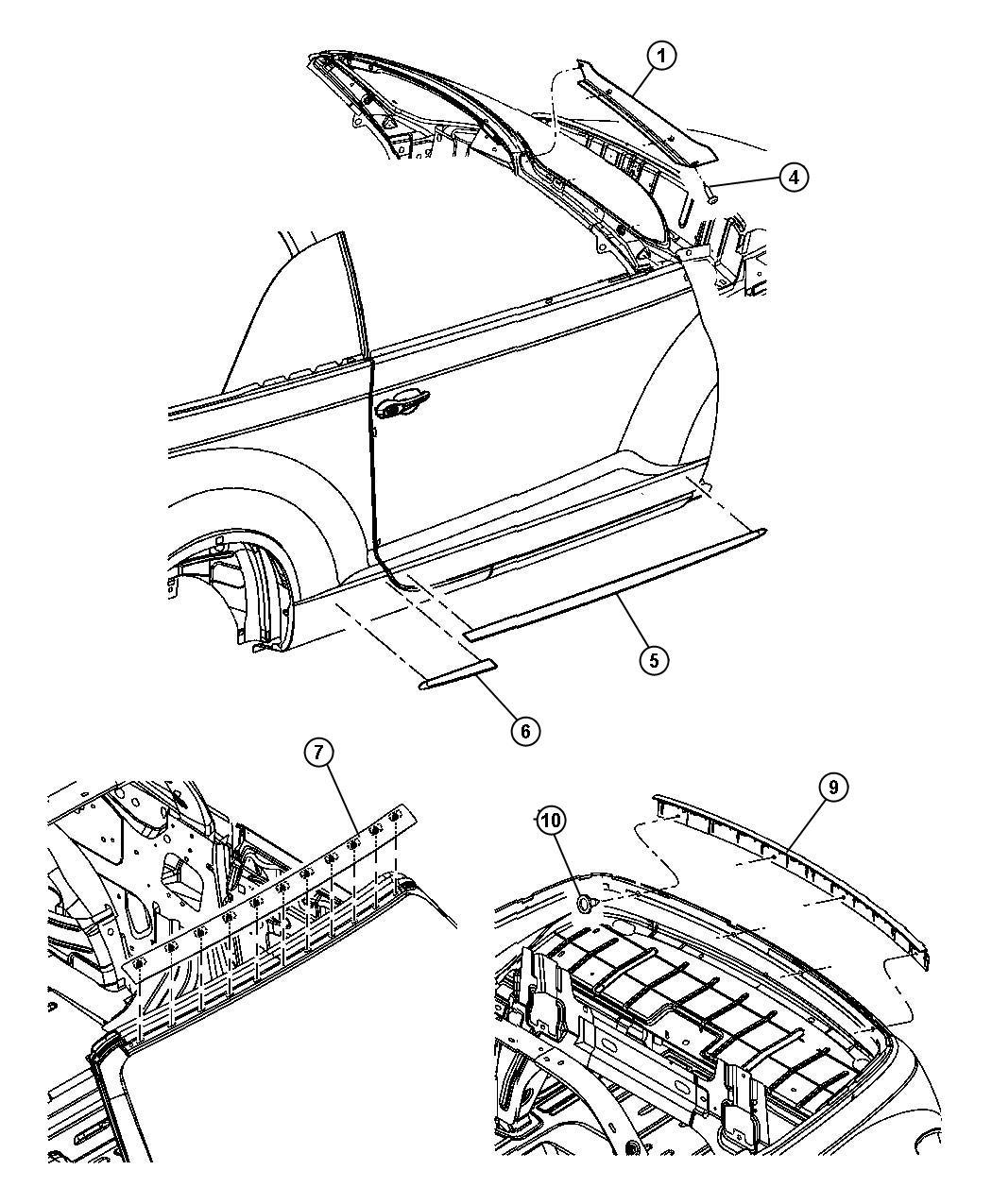 Chrysler Pt Cruiser Molding. Windshield. Color: (-yg