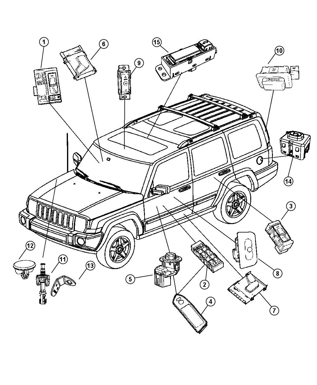 Jeep Commander Switch. Liftgate. Trim: [all trim codes