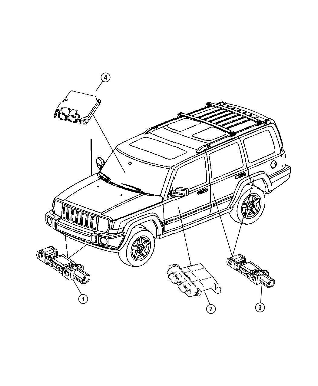 Jeep Wrangler Sensor. Air bag, impact, side airbag impact