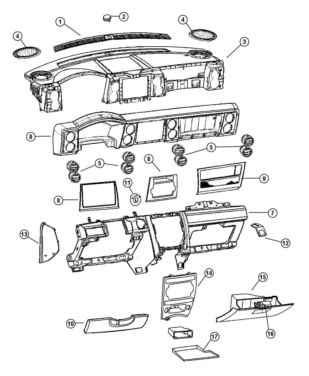 Jeep Commander Bezel. Instrument panel. Upper. Trim: [all