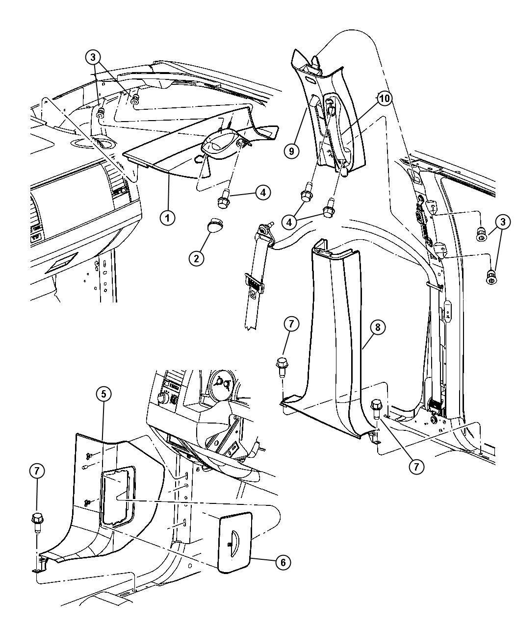 Chrysler Aspen Molding A Pillar Right Trim All Trim