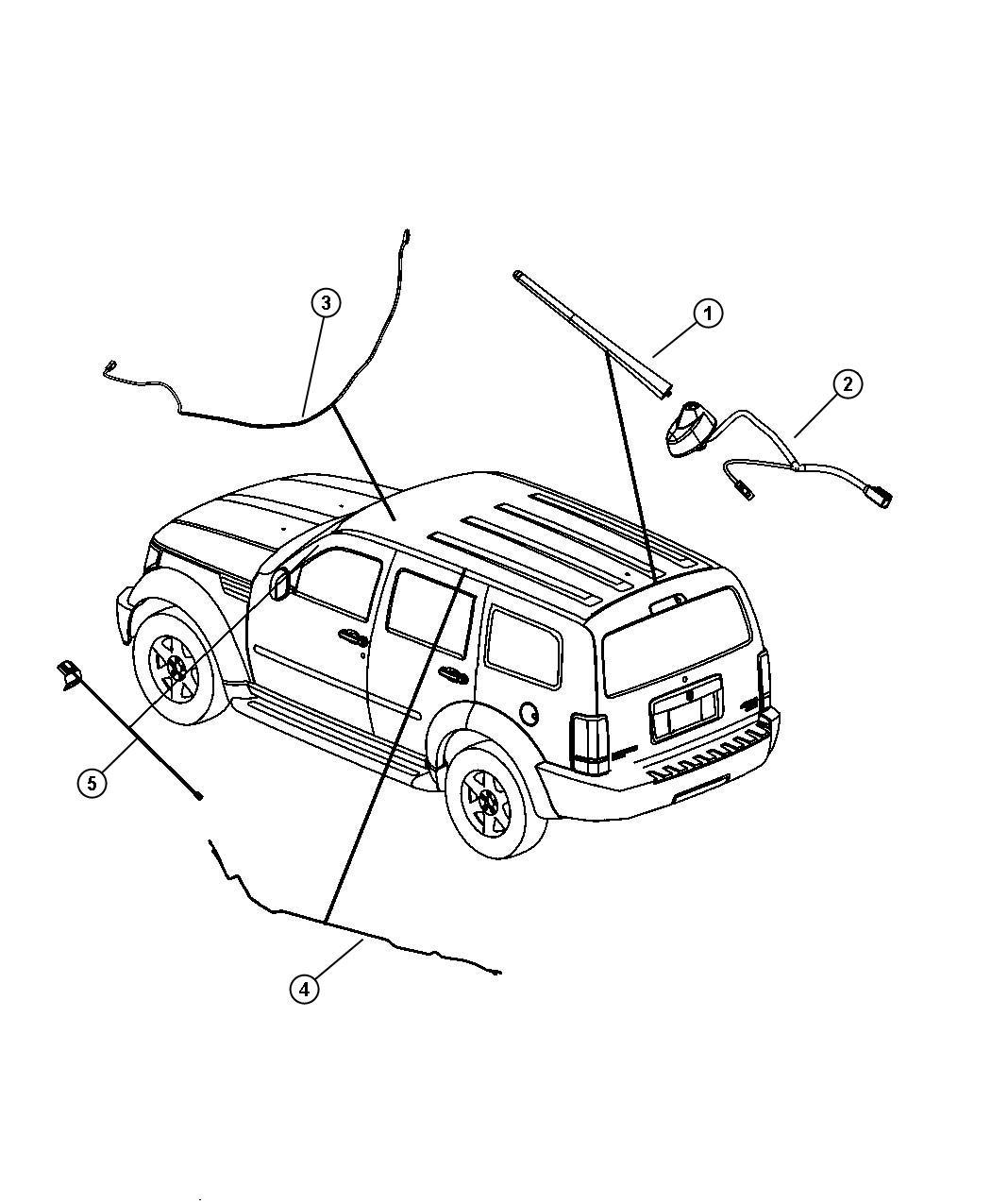 Dodge Nitro Mast. Antenna. [fixed long mast antenna