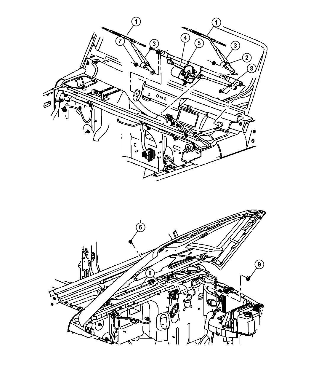 Jeep Wrangler Used for: MOTOR AND LINKAGE. Windshield