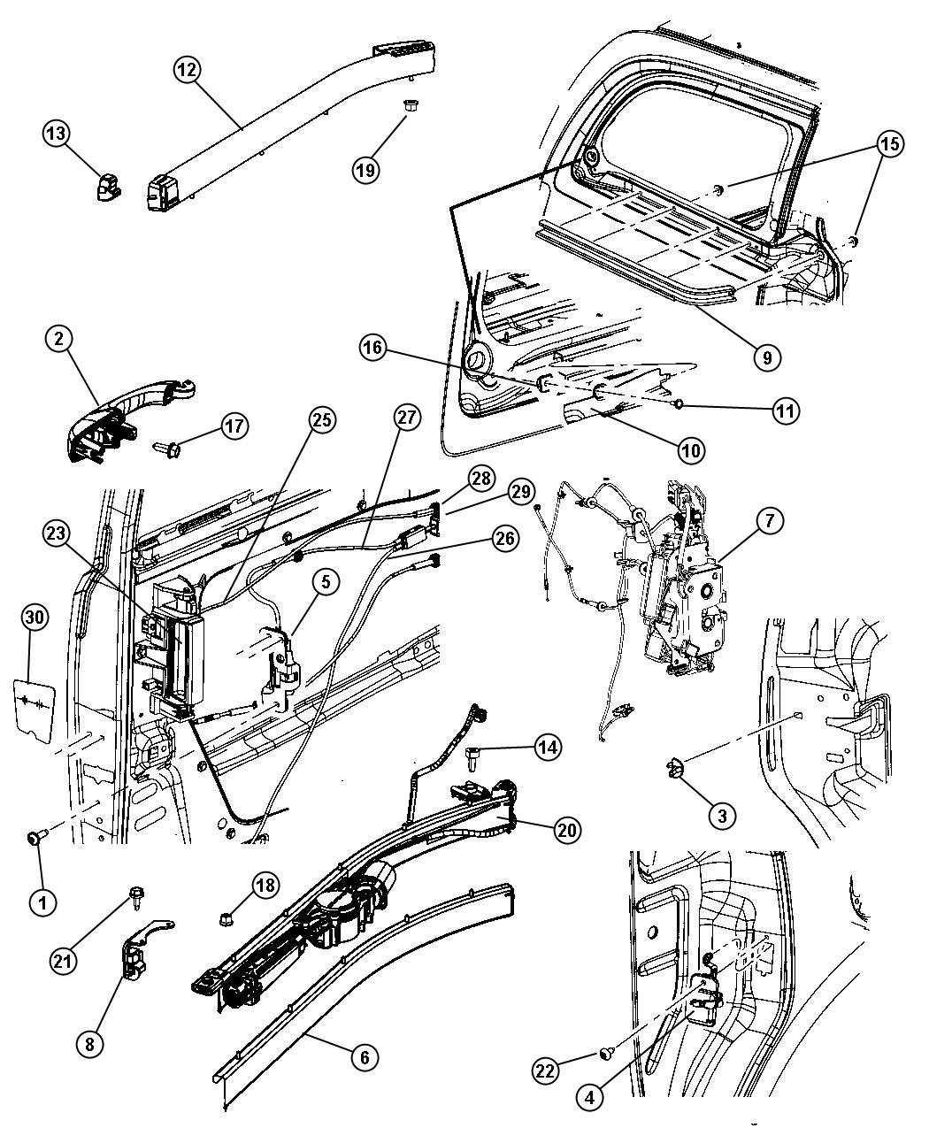 Chrysler Sliding Door, Hardware Components
