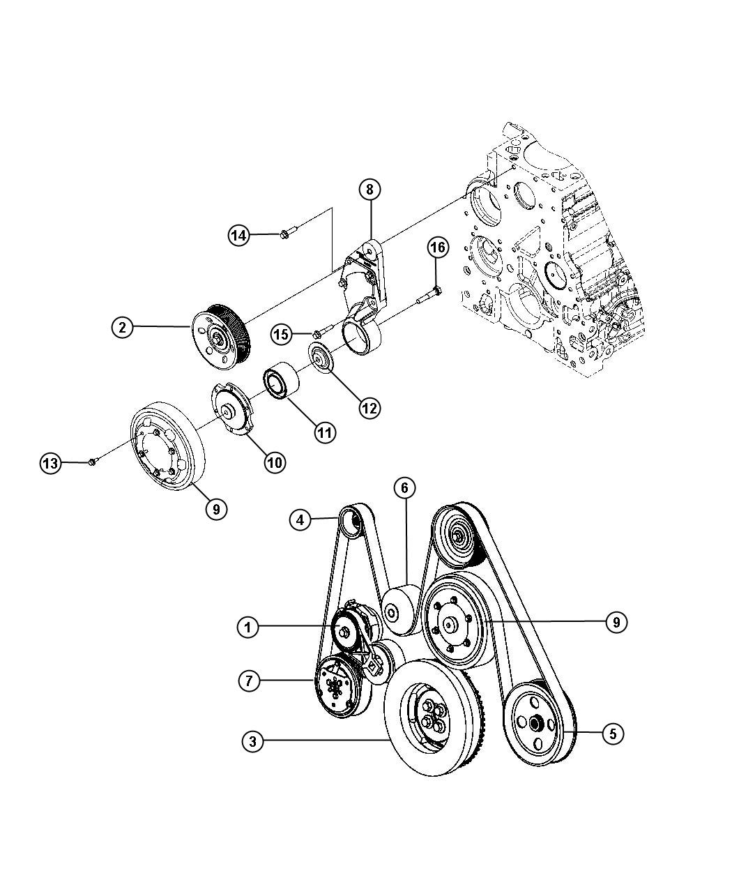 Slt Quad Cab Pulley And Related Parts 5 9l 5 9l Ho