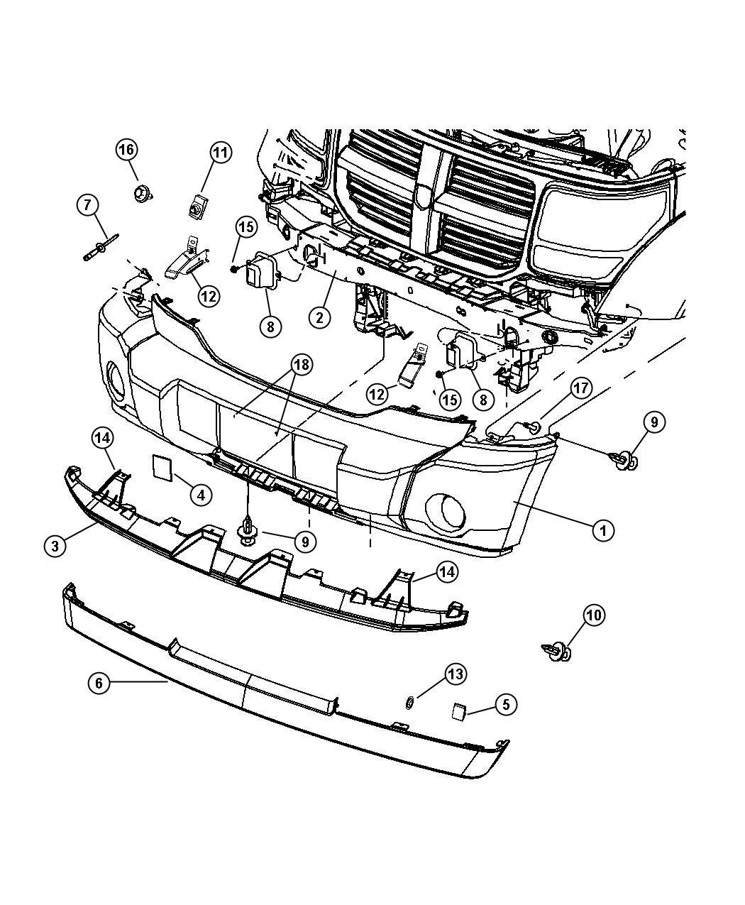 Dodge Nitro Air Dam Export Mlafog Lamp Port