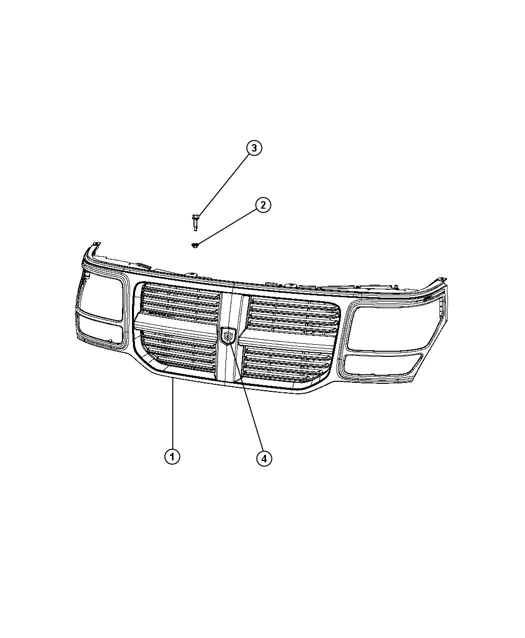 Dodge Nitro Grille. Radiator. [rh], [rh] with chrome, [rh