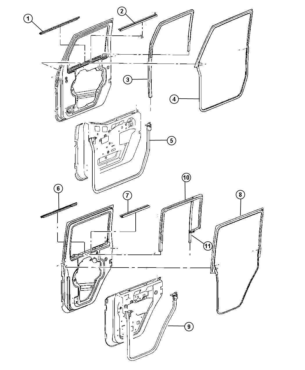 Jeep Wrangler Weatherseal Right Door To Body Front Full