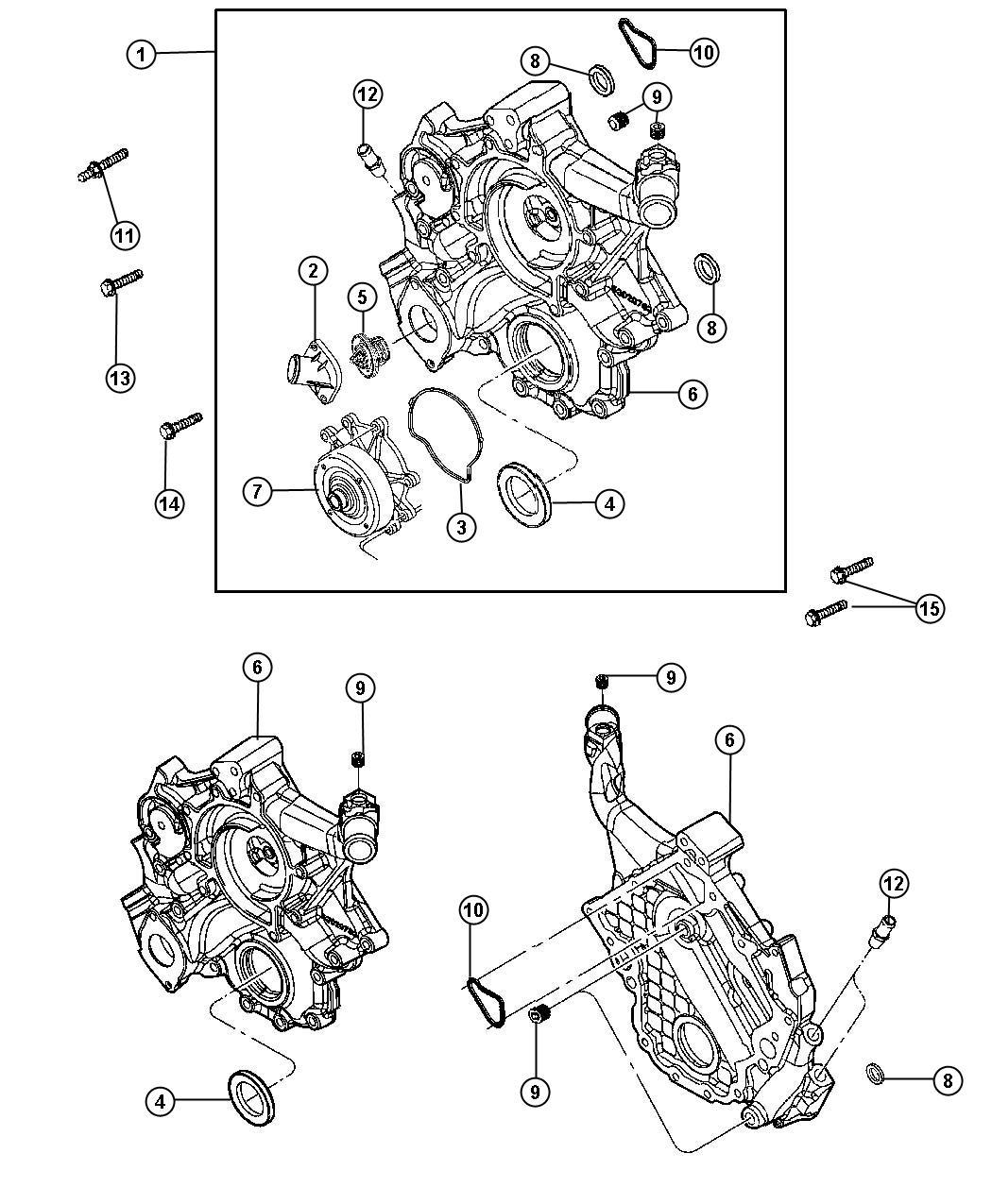Dodge Durango Timing Case Cover 4 7l 4 7l V8 Engine