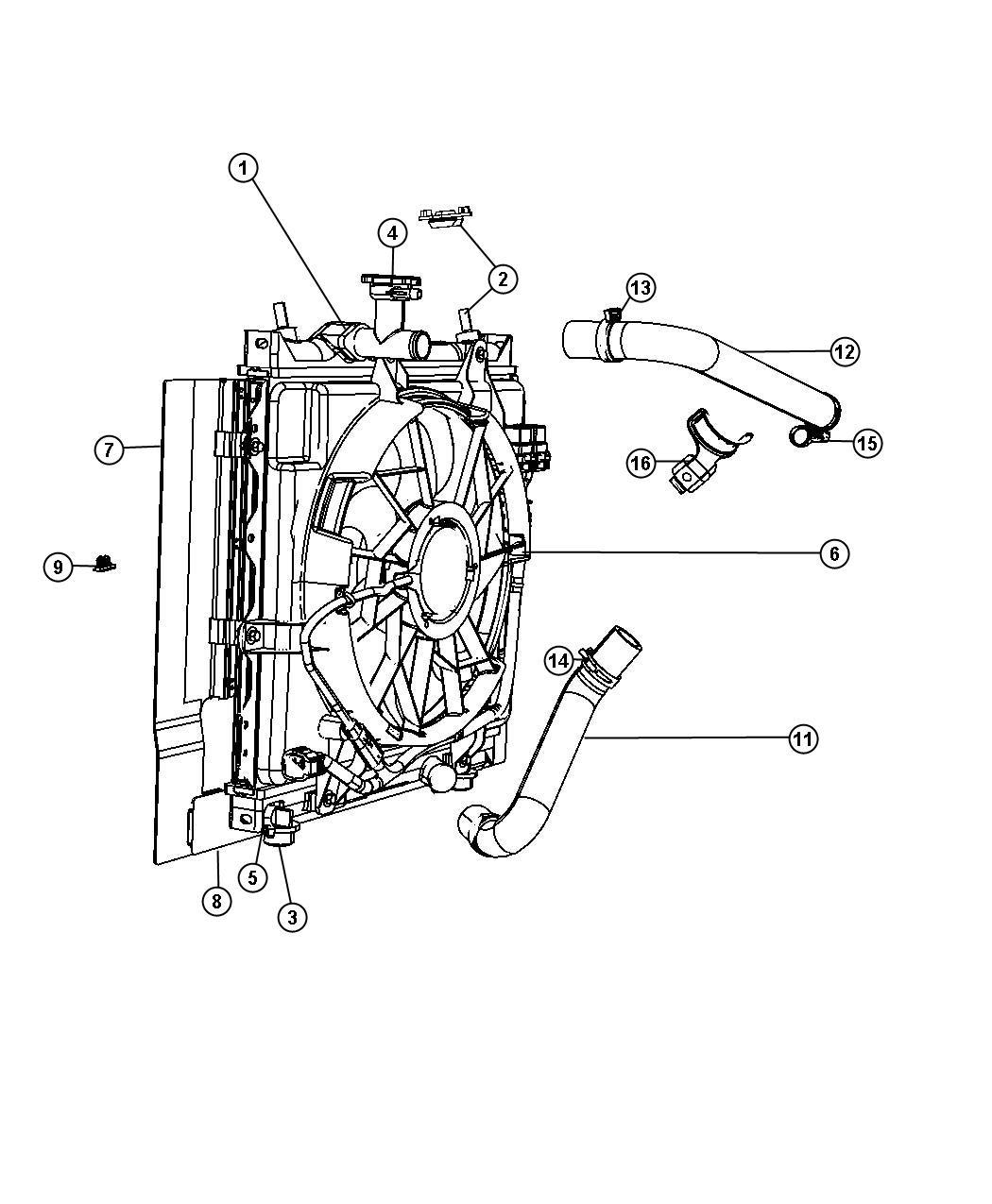 2008 Chrysler Pt Cruiser Fan module. Radiator cooling. Fan