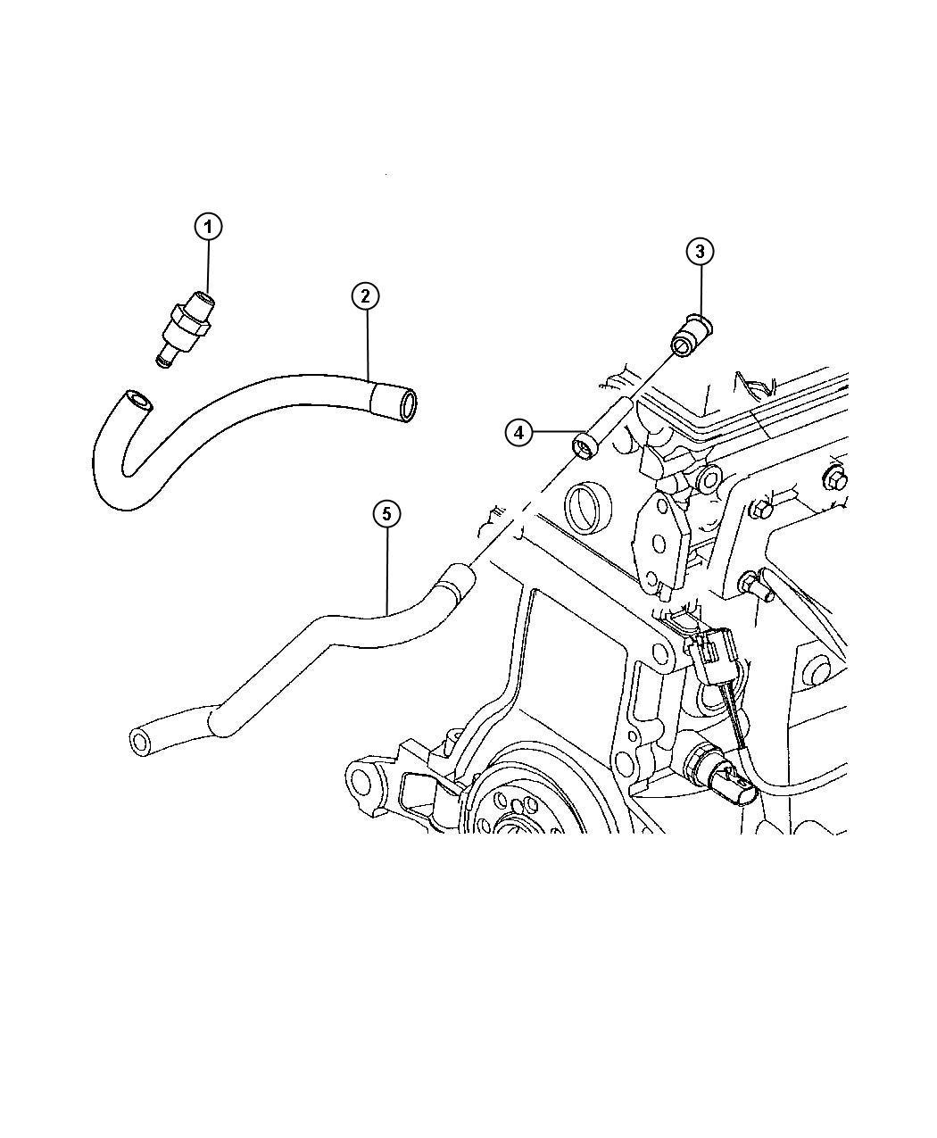 Chrysler Pt Cruiser Hose. Polution control valve