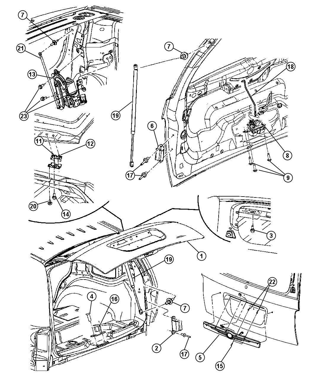 2008 Dodge Durango Rod. Liftgate handle to latch