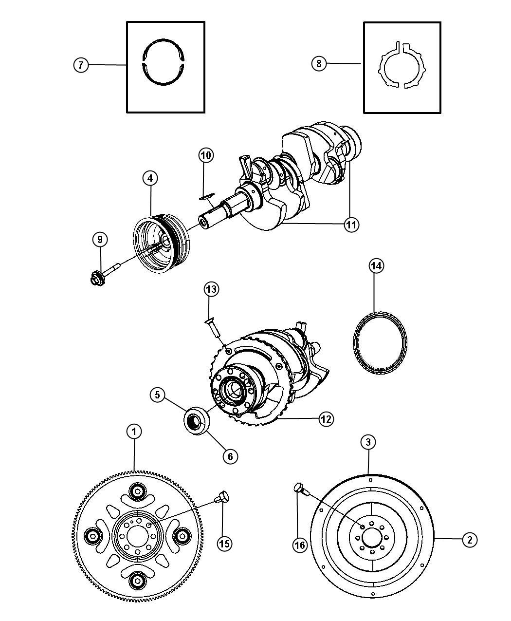 Jeep Liberty SPORT Crankshaft,Bearings,Damper,Flywheel And