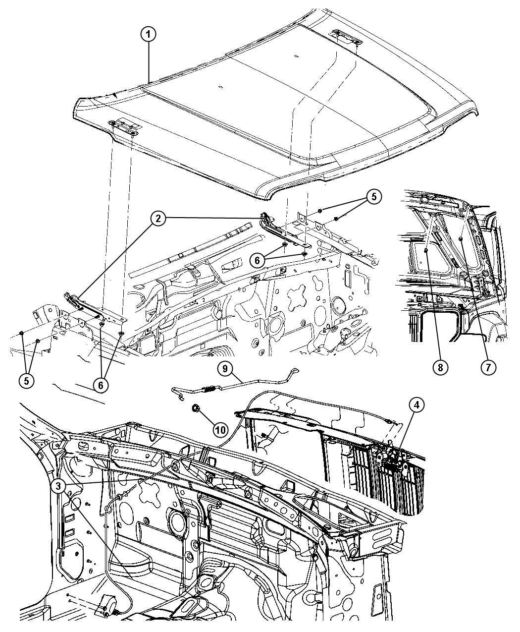 2008 Jeep Liberty Bushing. Hood prop rod pivot