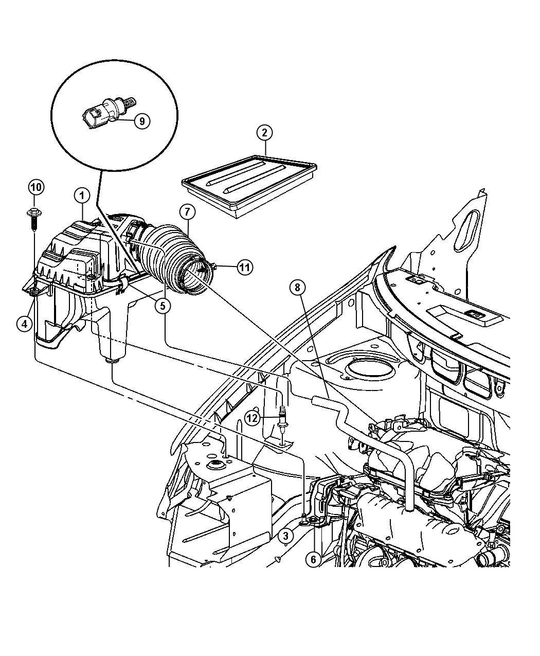 Chrysler Town & Country Hose. Pcv valve to intake manifold