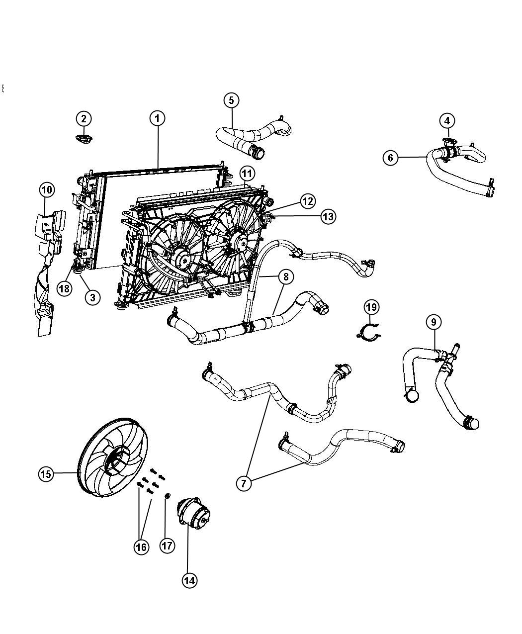 2008 Dodge Avenger Radiator and Related Parts.