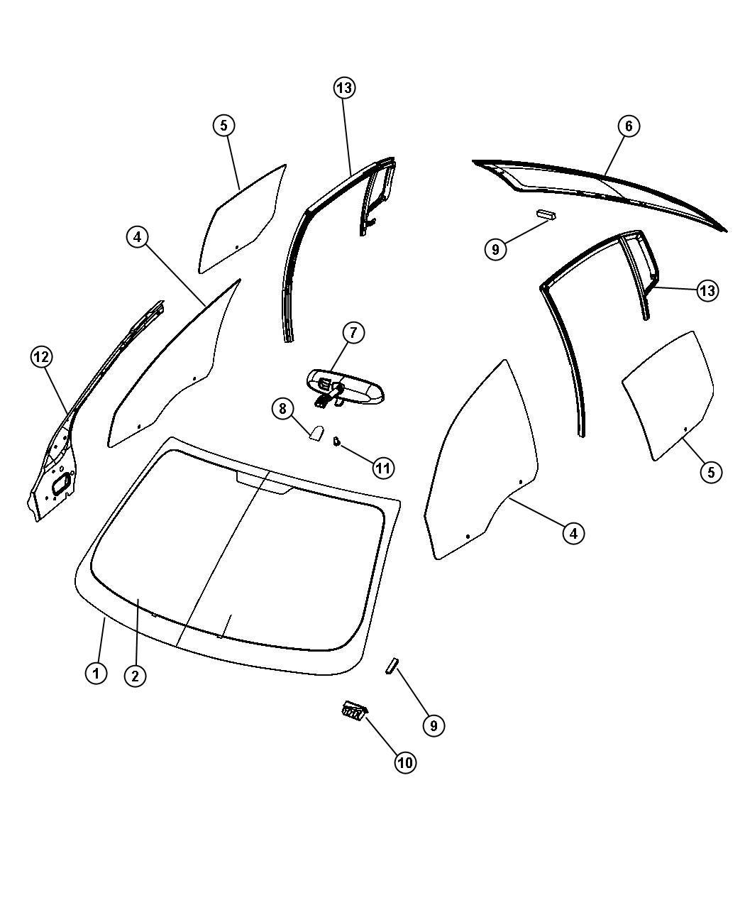 2008 Chrysler Sebring Backlite. Backglass, defrosterfront