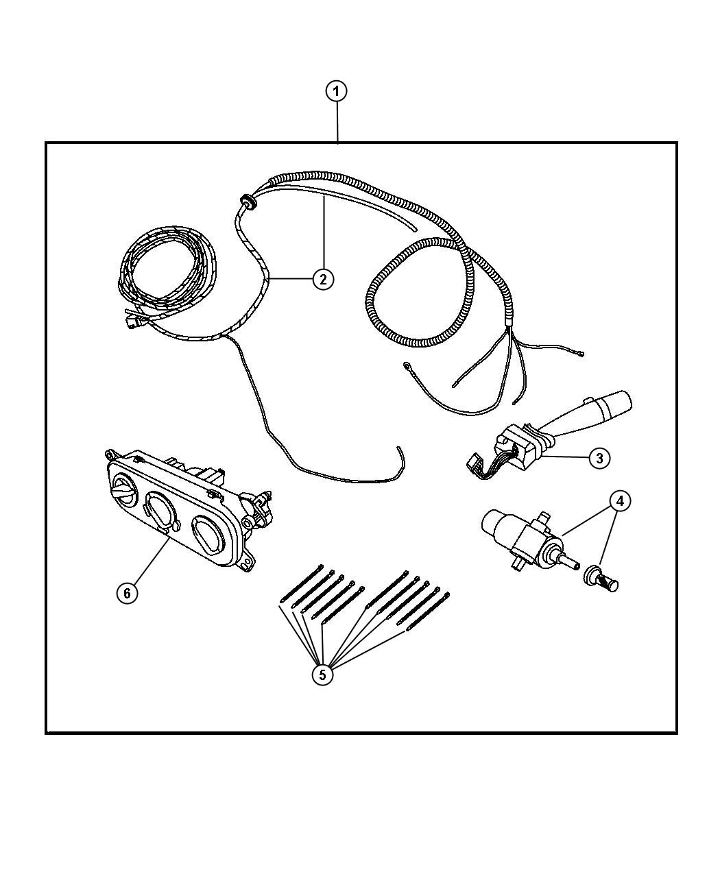Jeep Wrangler Switch and wiring package, includes wiring