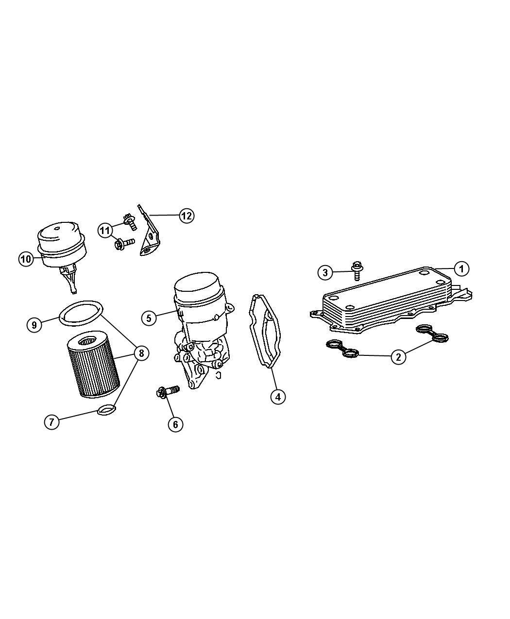 2008 Dodge Sprinter 2500 Engine Oil Cooler And Hoses/Tubes.