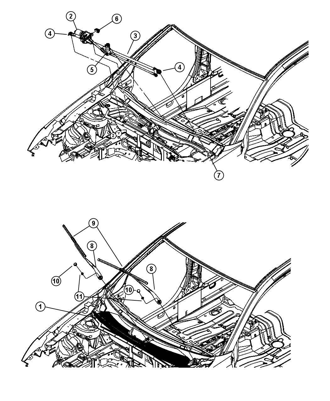 Dodge Avenger Bracket. Cowl plenum. Wiper motor attaching